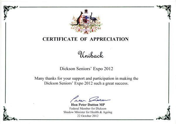 Dickson-Certificate